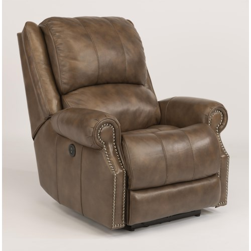 Flexsteel Latitudes-Sedgewick Transitional Power Recliner with Rolled Arms and Nailheads