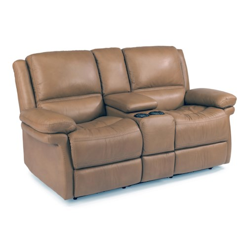 Flexsteel Latitudes - Skyler Contemporary Power Reclining Loveseat with Storage Console and Light-Up Cupholders
