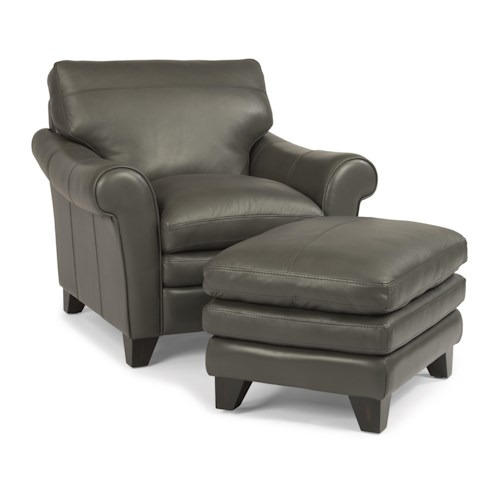Flexsteel Latitudes-Sofia Rolled Arm Chair and Ottoman Set with Pillow Topped Seats