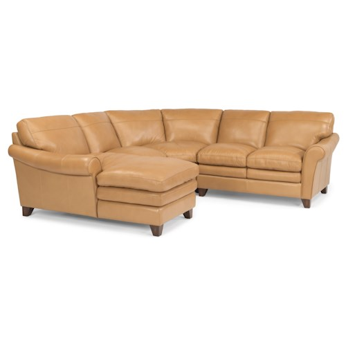 Flexsteel Latitudes-Sofia Four Piece Rolled Arm Sectional Sofa with Pillow Topped Cushions and Chaise