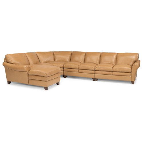 Flexsteel Latitudes-Sofia Five Piece Rolled Arm Sectional Sofa with Pillow Topped Seats and Chaise