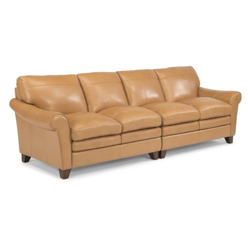 Flexsteel Latitudes-Sofia Two Piece Rolled Arm Sectional Sofa with Pillow Topped Cushions