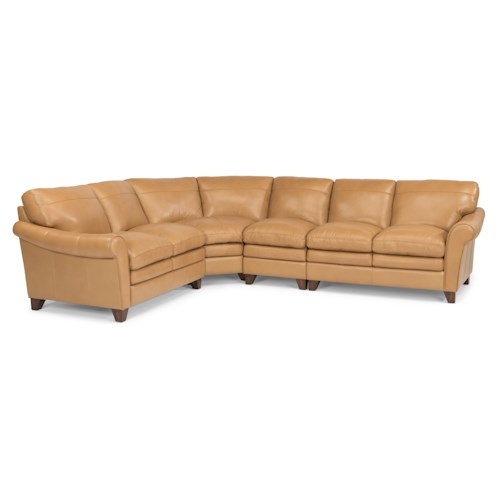 Flexsteel Latitudes-Sofia Four Piece Rolled Arm Sectional Sofa with Pillow Topped Cushions