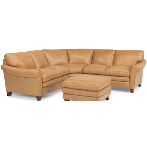 Flexsteel Latitudes-Sofia Three Piece Rolled Arm Sectional Sofa with Pillow Topped Cushions