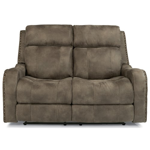 Flexsteel Latitudes-Springfield Power Reclining Lay-Flat Loveseat with Adjustable Headrests and USB Charging Ports