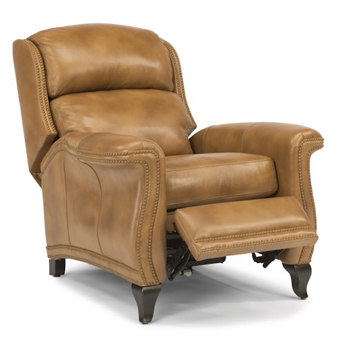 Flexsteel Latitudes-Sting Ray Transitional High Leg Recliner with Wide-Flared Arms and Nailhead Border