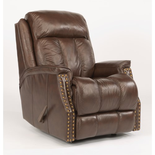 Flexsteel Latitudes-Timmons Rocking Recliner with Padded Headrest and Oversized Nailheads