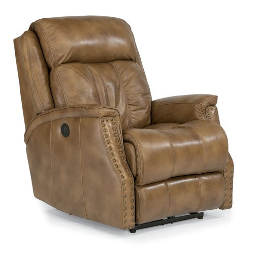 Flexsteel Latitudes-Timmons Power Motion Recliner with Padded Headrest and Oversized Nailheads