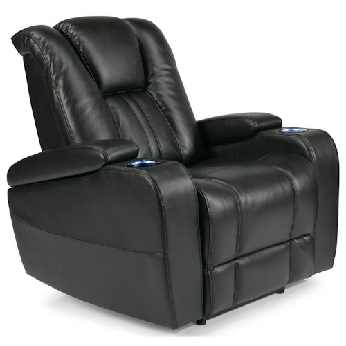 Flexsteel Latitudes-Trinidad Power Recliner with Lighting Cupholders and Adjustable Headrest