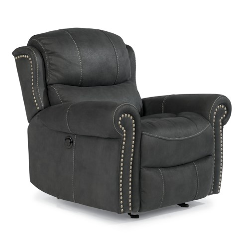 Flexsteel Latitudes-Walden Cozy Power Glider Recliner with Nail Head Trim