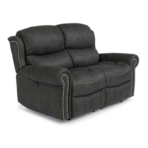 Flexsteel Latitudes-Walden Cozy Reclining Love Seat with Nail Head Trim