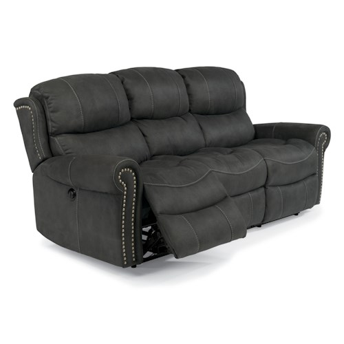 Flexsteel Latitudes-Walden Cozy Reclining Sofa with Nail Head Trim
