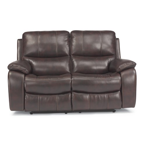 Flexsteel Latitudes - Woodstock Double Power Reclining Love Seat with Pillow Arms