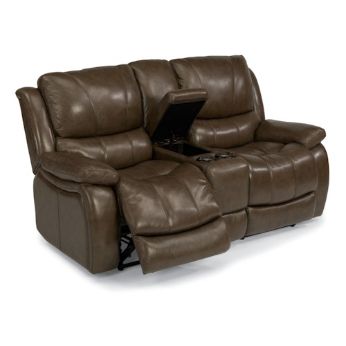 Flexsteel Latitudes-Zandra Lay Flat Power Reclining Loveseat with Console