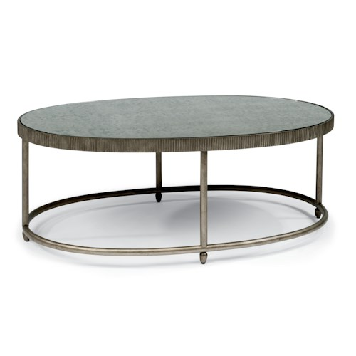 Flexsteel Legacy Transitional Oval Cocktail Table with Antiqued Mirror Top