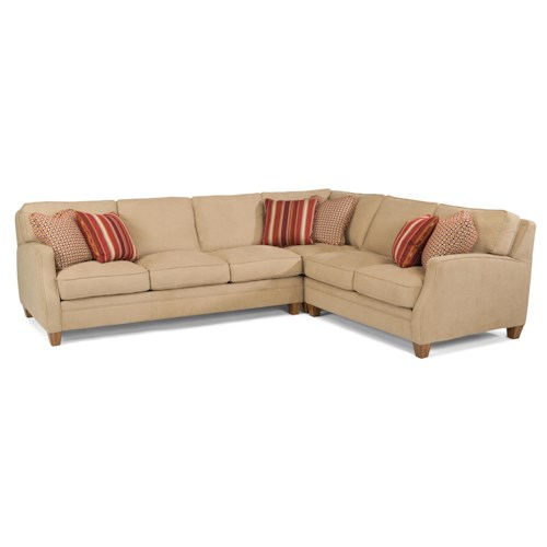 Flexsteel Lenox Three Piece Sectional Sofa with RAF Loveseat