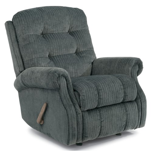 Flexsteel Mackenzi Casual Button Tufted Swivel Gliding Recliner (No Nailheads)