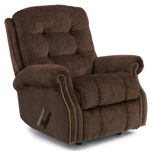 Flexsteel Mackenzi Casual Button Tufted Swivel Glider Recliner (with Nailheads)