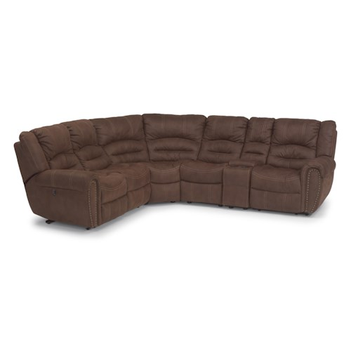 Flexsteel Latitudes - New Town Six Piece Reclining Sectional Sofa with Nailhead Studs