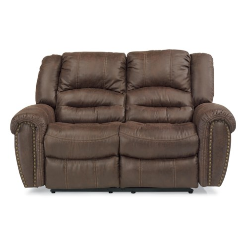 Flexsteel Latitudes - New Town Reclining Loveseat with Nailhead Studs