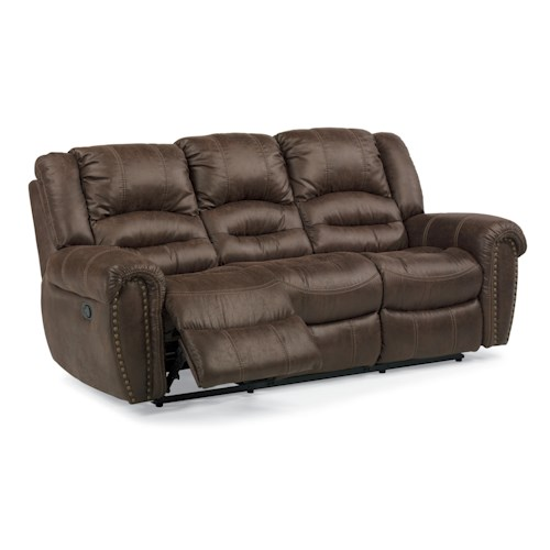 Flexsteel Latitudes - New Town Reclining Sofa with Nailhead Studs