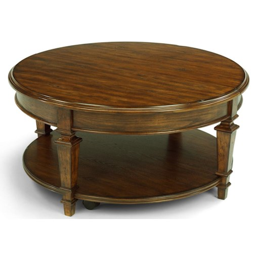 Flexsteel Oakbrook Round Wood Cocktail Table with Lift Top on Casters