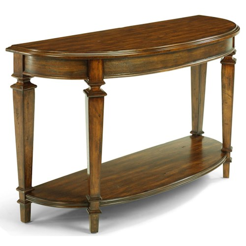 Flexsteel Oakbrook Half Moon Traditional Sofa Back Table