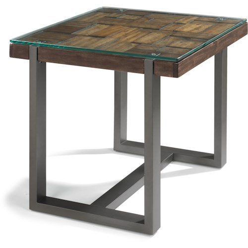 Flexsteel Patchwork End Table with Steel Frame