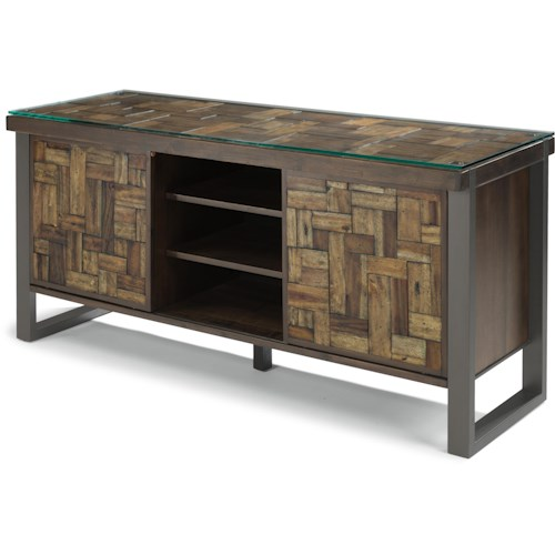 Flexsteel Patchwork Entertainment Base with Sliding Doors