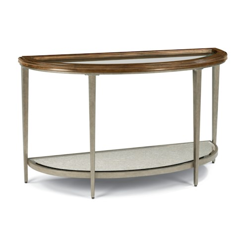 Flexsteel Patina Sofa Table with Glass Top and Antiqued Mirror Shelf