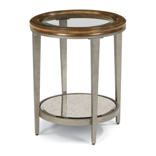 Flexsteel Patina Transitional Chair Side Table with Glass Top and Antiqued Mirror Shelf