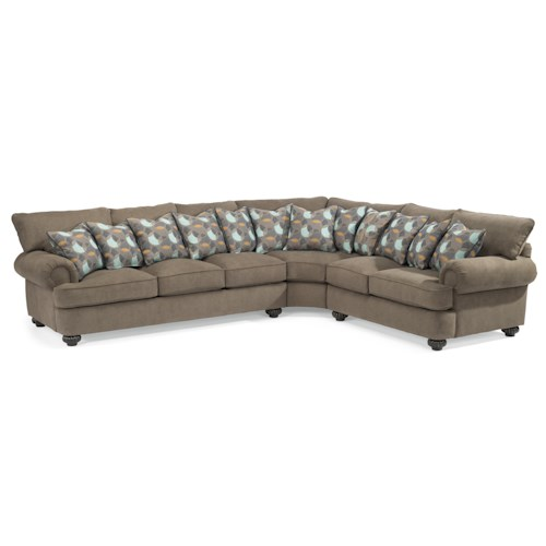 Flexsteel Patterson  Three Piece Sectional Sofa with Rolled Arms