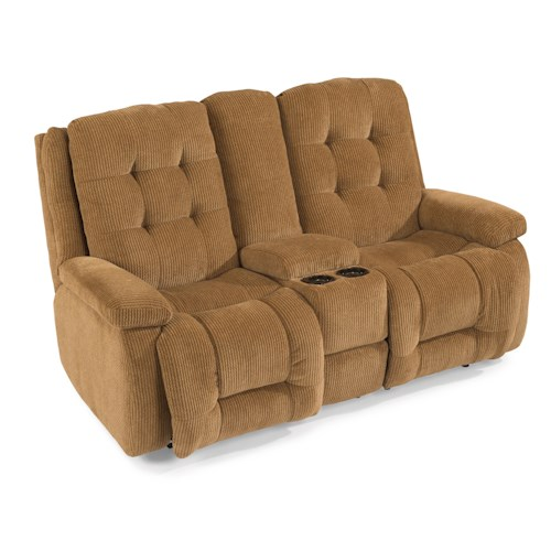 Flexsteel Paxton Power Reclining Loveseat with Storage Console and Light-Up Cupholders