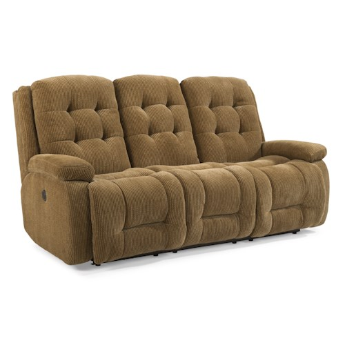 Flexsteel Paxton Power Reclining Sofa with Button Tufting