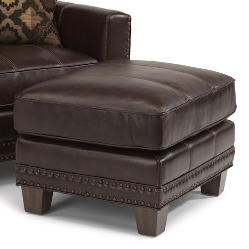 Flexsteel Latitudes - Port Royal Transitional Ottoman with Nailhead Border and Wood Feet
