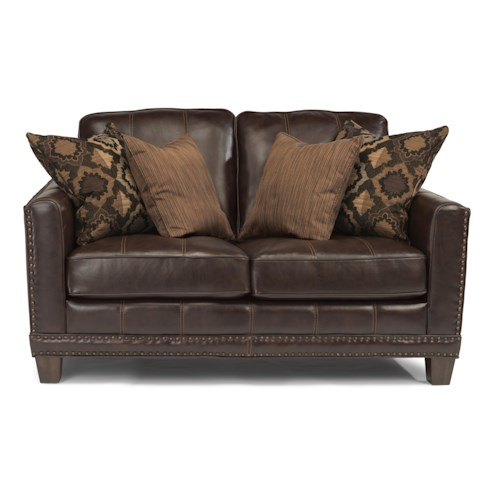Flexsteel Latitudes - Port Royal Transitional Love Seat with Nailhead Border and Wood Feet