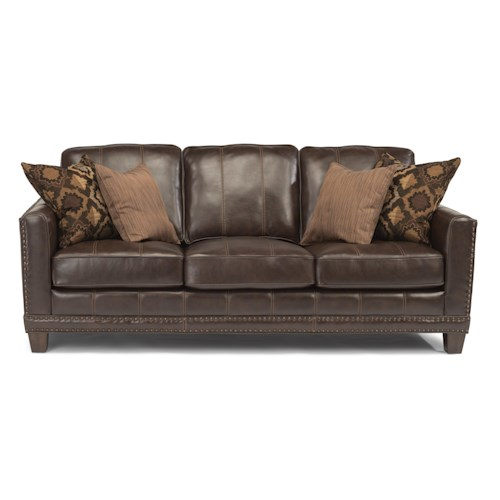 Flexsteel Latitudes - Port Royal Transitional Sofa with Nailhead Border and Wood Legs