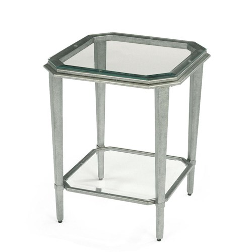 Flexsteel Prism Contemporary Glass Chairside Table