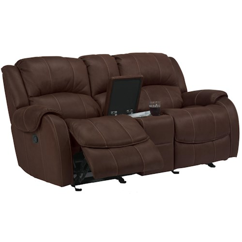 Flexsteel Latitudes -Pure Comfort Dual Gliding Reclining Power Love Seat with Console
