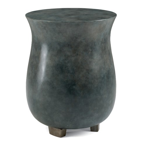 Flexsteel Raku Pottery-Inspired Painted Concrete Chair Side Table