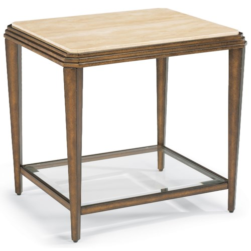 Flexsteel Seville Metal End Table with Marble Top