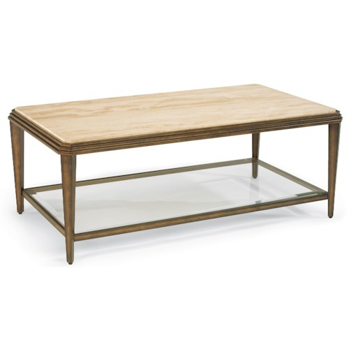 Flexsteel Seville Metal Cocktail Table with Marble Top