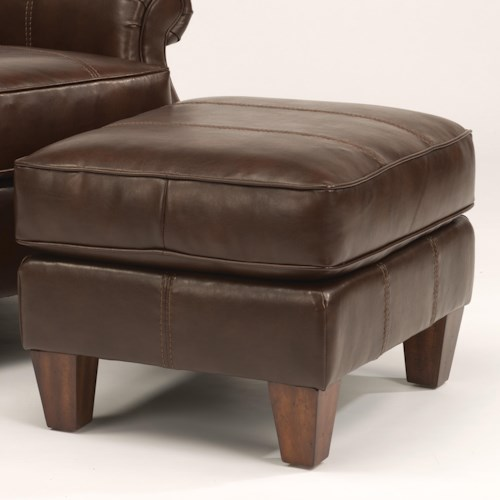 Flexsteel Stafford - -660344646 Classic Styled Footrest Ottoman with Wooden Feet