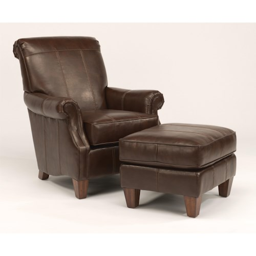 Flexsteel Stafford - -660344646 Traditional Styled Chair and Ottoman Set for Classic Sophistication