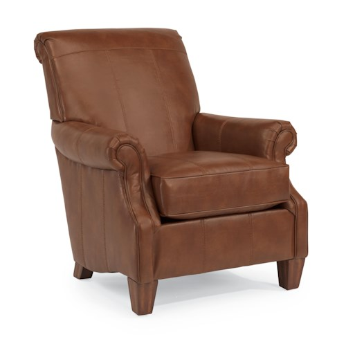 Flexsteel Stafford - -660344646 Traditional Styled Accent Chair with Rolled Arms and Wood Feet