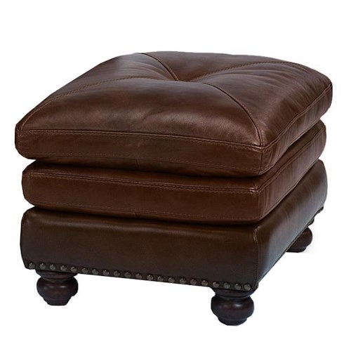 Flexsteel Latitudes-Suffolk Rectangular Ottoman with Nailhead Trim