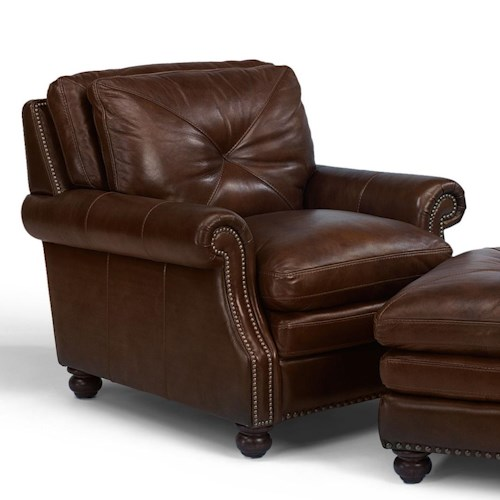 Flexsteel Latitudes-Suffolk Upholstered Leather Chair with Nailhead Trim Accents