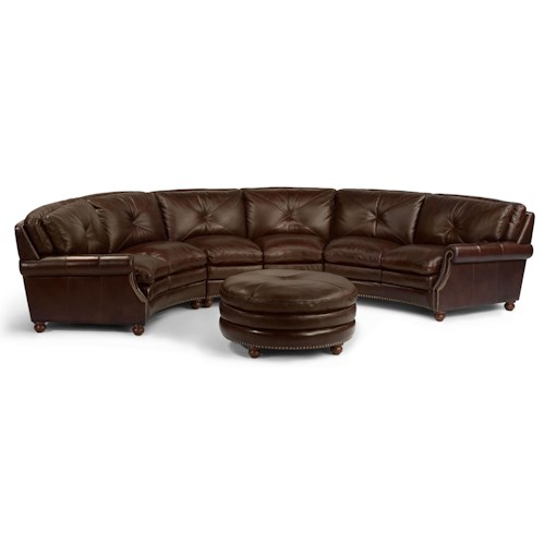 Flexsteel Latitudes-Suffolk Round Sectional Sofa with Nailhead Trim