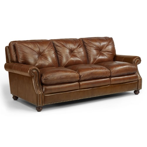 Flexsteel Latitudes-Suffolk Leather Stationary Sofa with Nailhead Trim