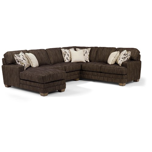 Flexsteel That's My Style <b>Customizable</b> 3 Piece Sectional Sofa with LAF Chaise